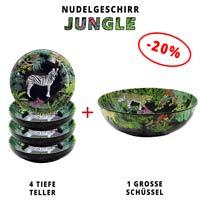 Nudelgeschirr aus Melamin: 1 Schüssel + 4 Tiefe Teller (-20%) Jungle