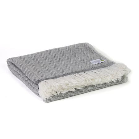Plaid cachemire et laine Gris Anthracite - Plaid léger grands chevrons