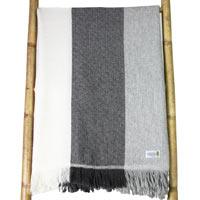 Plaid cachemire et laine à bandes Grises et Beige - Plaid léger motif diamant - 130 x 230 cm