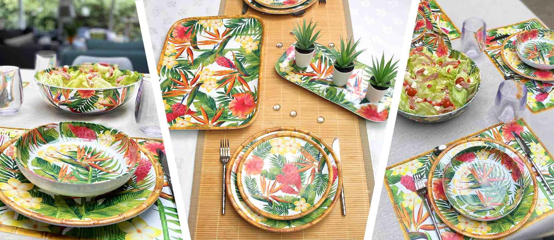 collection de vaisselle incassable aux motifs exotiques en mélamine