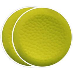 Großer flacher Teller aus reinem Melamin 27 cm - Grün, 2 Stück