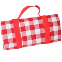 Waterproof picnic blanket big red squares XXL (280 x 140 cm)