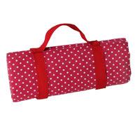 Tovaglia da picnic impermeabile - Rosso bordeaux a pois bianchi - (140 x 140 cm)