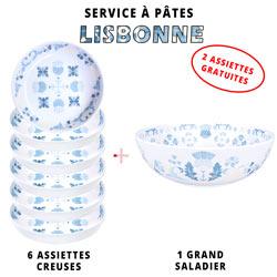 Service à pâtes mélamine: 1 saladier + 6 assiettes creuses (dont 2 GRATUITES) Thème Lisbonne