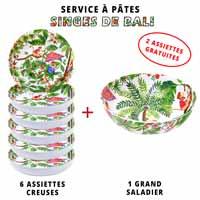 Service à pâtes mélamine: 1 saladier + 6 assiettes creuses (dont 2 GRATUITES) Thème Singes de Bali