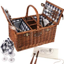 Picnic basket white / blue checked for 4 persons - 'Saint-Germain'
