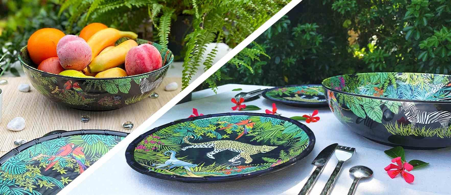 Foto van de melamine collectie aap thema: borden, dienblad, schotel...