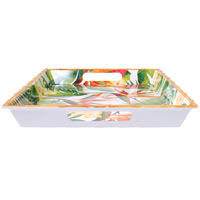 Large Rectangular Serving Tray - Bamboo-effect rim - 50 cm - Exotic Flowers