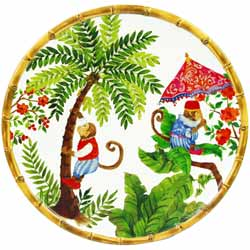 Large Dinner Plate - 100% melamine - 28 cm - Bali's Monkeys