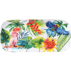 Piatto da Torta lungo Rettangolare - pura melamina - 37,5 cm - Uccelli Tropicali