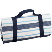 Waterproof picnic blanket blue and white with stripes XXL (280 x 140 cm)