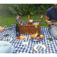 """Cestino da picnic """"Saint-Germain"""" - quadri bianchi e blu - 4 persone"""