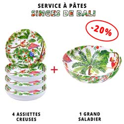 Service à pâtes mélamine: 1 saladier + 4 assiettes creuses (-20%) Thème Singes de Bali