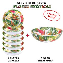 Servicio de pasta de melamina: 1 ensaladera + 6 platos de pasta (2 GRATIS) Flores Exóticas