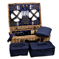 Picnic trunk with leather straps in blue - 'Champs-Elysées' for 6