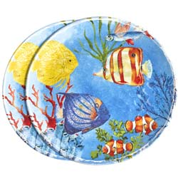 Large melamine dinner plate - Marine. 2 pieces