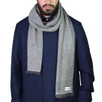 Echarpe cachemire et laine Homme & Femme 40 x 190 cm - Bicolore Grise Argentée / Grise Anthracite