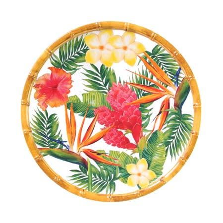 Small melamine dessert plate 23 cm - Exotic Flowers