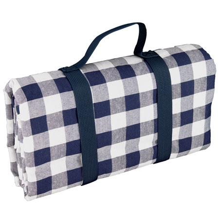 Waterproof picnic blanket with big blue tiles XXL (280 x 140 cm)