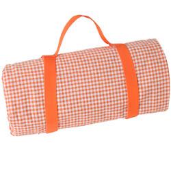Nappe XL vichy orange rectangulaire pour pique-nique (140 x 280 cm)