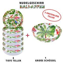 Nudelgeschirr-Set aus melamin: 1 Schüssel und 6 tiefe Pastateller (davon 2 GRATIS) Bali-Affen