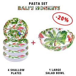 Pasta service: 1 salad bowl + 4 soup plates (-20%) Bali Monkeys Theme