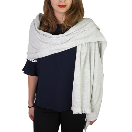 Women's stole/pashmina in Silver Grey diamond pattern