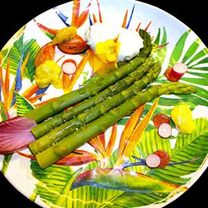 Aïoli d'asperges vertes et œuf poché dans une assiette en mélamine
