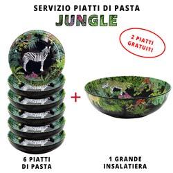 Servizio da tavola per pasta: insalatiera + 6 piatti da minestra (di cui 2 GRATIS) Jungle