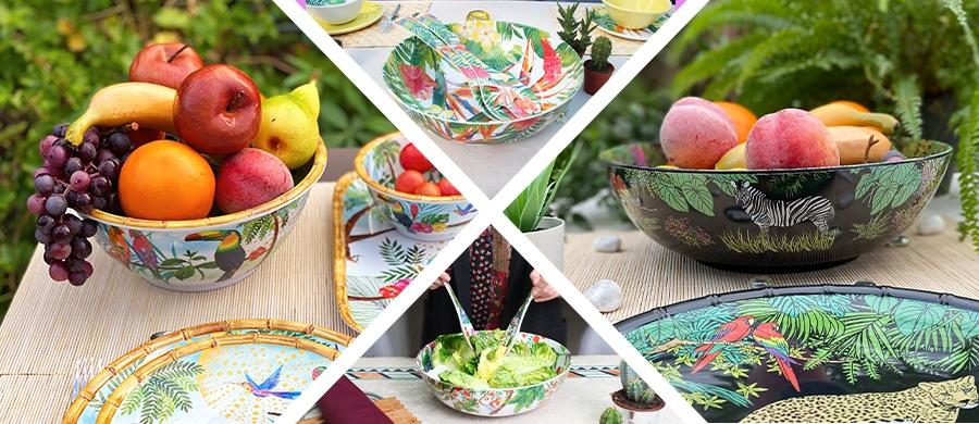 vaisselle en mélamine incassable - saladiers et couverts à salade