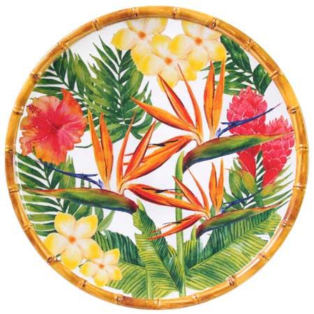 Großer flacher Teller aus reinem Melamin 28 cm - Exotische Blumen