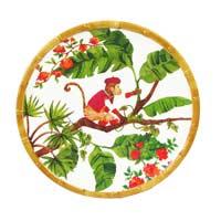 Plato pequeño para postres de melamina pura - 23 cm - Monos de Bali