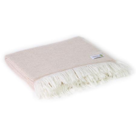 Leichte Decke aus Kaschmir und Wolle mit großes zackenmuster : kamelfarben - 130 x 230 cm