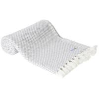 Plaid cachemire et laine petits chevrons Gris Argenté - Plaid Confort