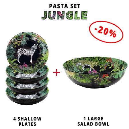 Pasta service: 1 salad bowl + 4 soup plates (-20%) Jungle Theme