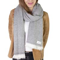 Sjaal van kasjmier en wol Heren & Dames 70 x 210 cm - Antracietgrijs kleine visgraat