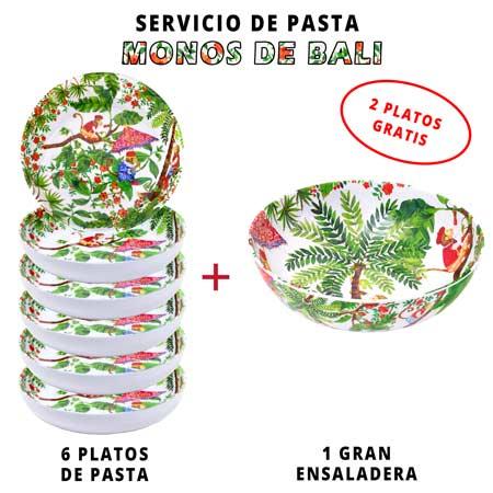 Servicio de pasta de melamina: 1 ensaladera + 6 platos de pasta (2 GRATIS) Monos de Bali