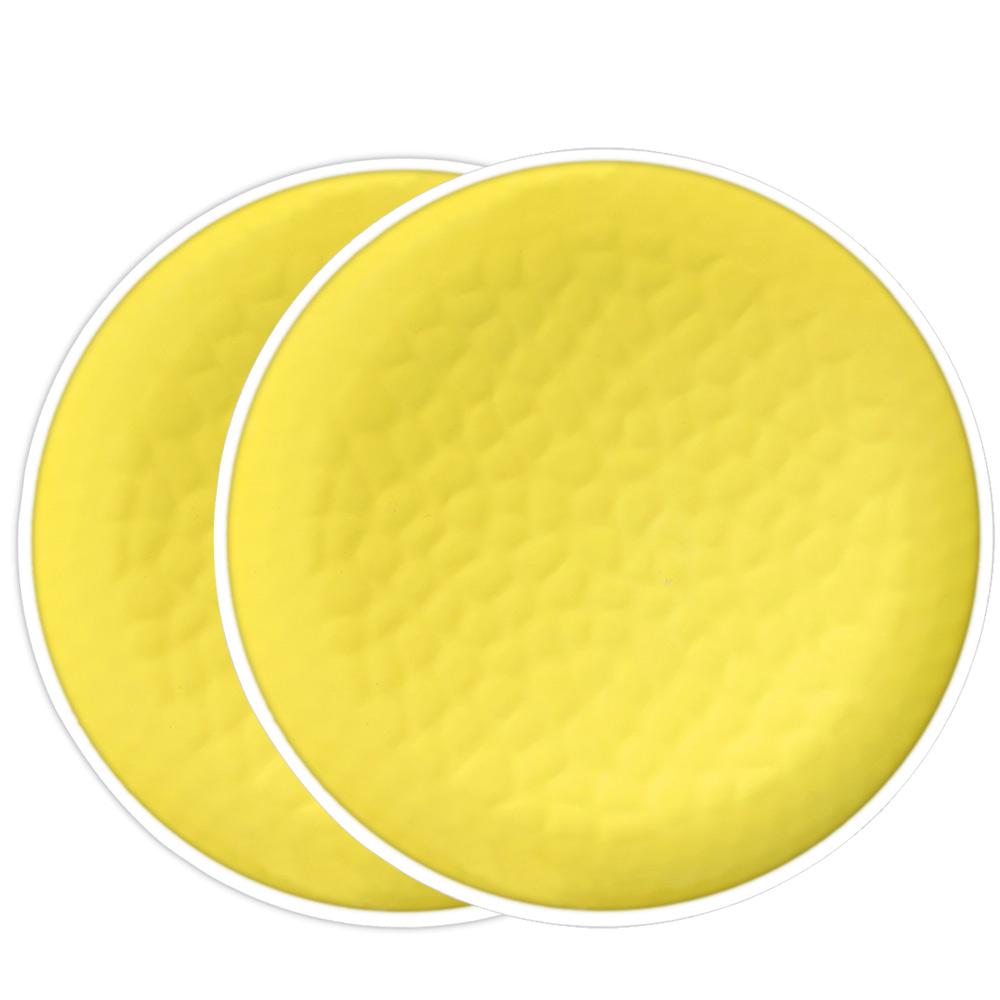 2 Platos Pequeños 23 cm casi irrompibles de melamina pura – Amarillo. 2 unidades