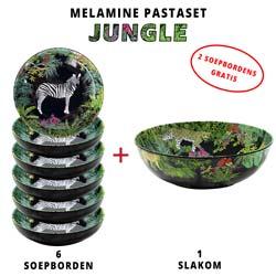 Melamine pastaset: 1 slakom + 6 soepborden (2 GRATIS) Jungle Theme