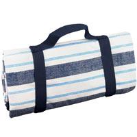 Mantel de picnic impermeable azul y blanco con rayas - (140 x 140 cm)