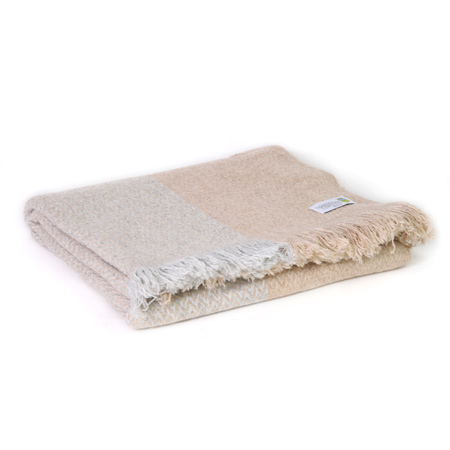 Silver grey and camel lightweight cashmere and wool throw - 130 x 230 cm