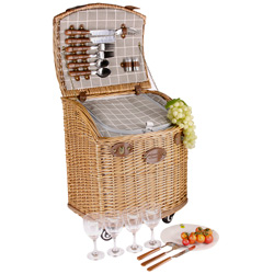 "Picnic basket on wheels gray fabric ""Concorde"" - 4 Persons"