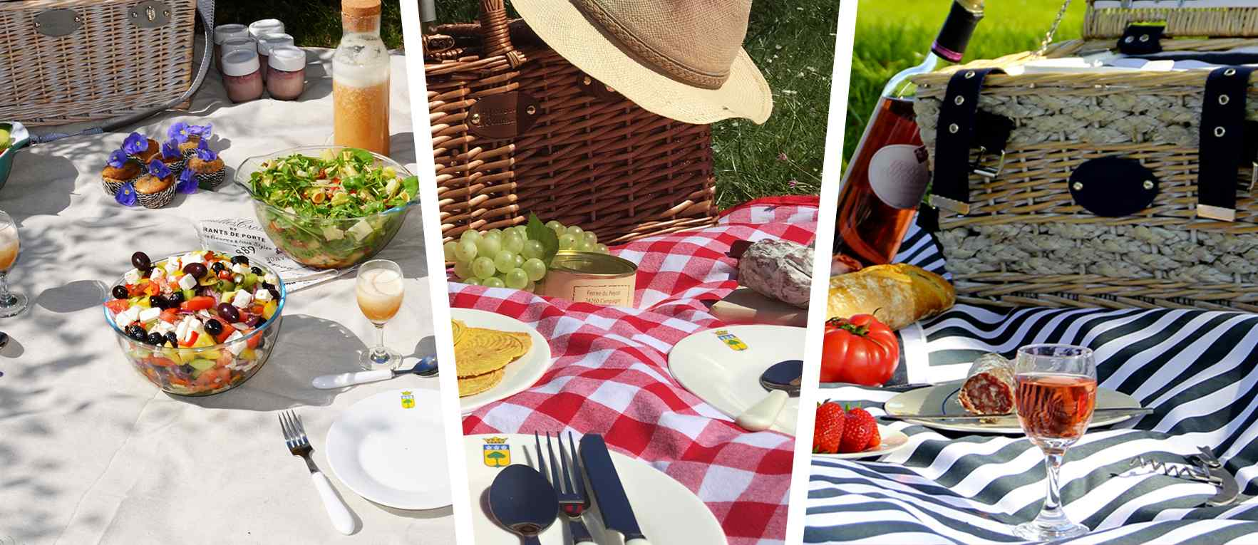 Beige, red check and blue striped waterproof picnic tablecloth