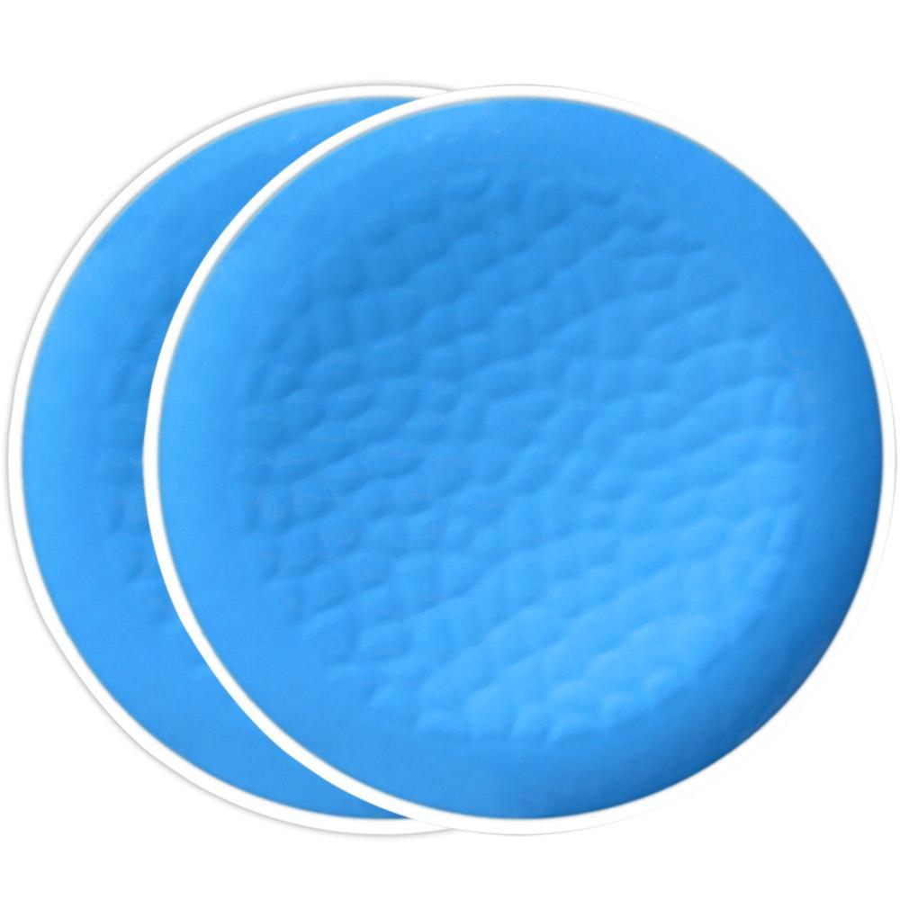 Groot plat bord van 27 cm van pure melamine - Blauw. 2 stukken