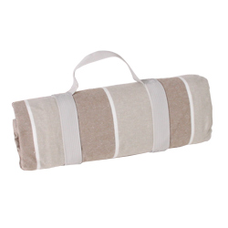 Waterproof picnic blanket beige and white stripes (140 x 140 cm)