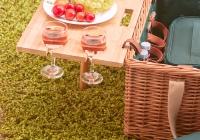 """Cesta de picnic de cuero """"Saint-honoré"""" verde - 4 personas"""