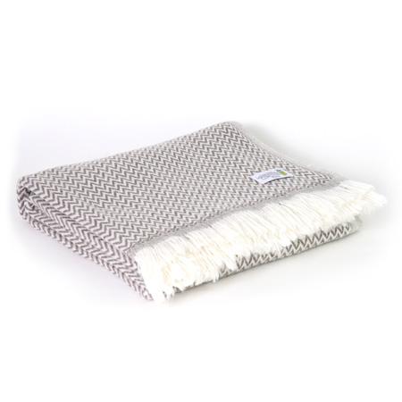 Leichte Decke aus Kaschmir und Wolle mit zackenmuster : kastanienbraun - 130 x 230 cm