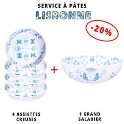 Service à pâtes mélamine: 1 saladier + 4 assiettes creuses (-20%) Thème Lisbonne