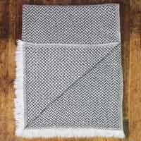 Women's stole/pashmina in Anthracite grey Herringbone pattern