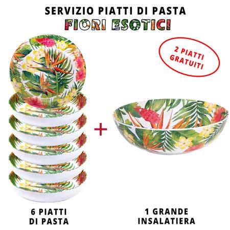 Servizio da tavola per pasta: insalatiera + 6 piatti da minestra (di cui 2 GRATIS) Fiori Esotici